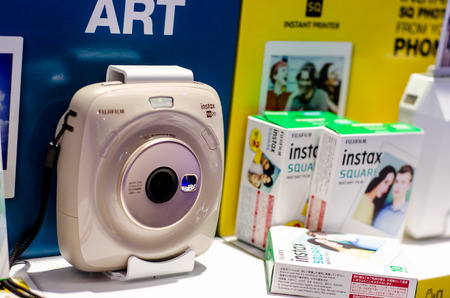 Kyiv, Ukraine - September 28, 2019: Fujifilm Instax Exposition Stand at the exhibition.