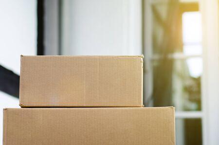 Close-up of delivery cardboard box Banco de Imagens