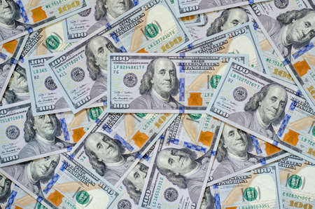 Background of one hundred United states of America US dollars currency.