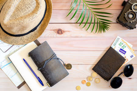 Trip vacation accessories for travel, tourism concept.