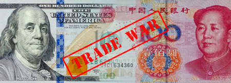 US dollar vs Chinese Yuan in one banknote concept. Trade War.