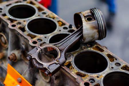 Disassemble engine block vehicle. Motor capital repair.