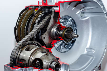 Close-up of automatic transmission cross section.
