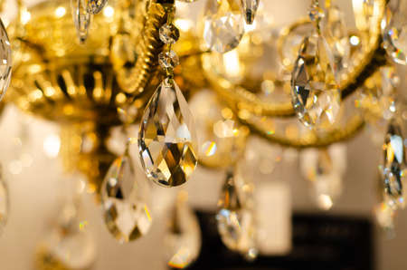 Close-up of crystal on the chandelier.