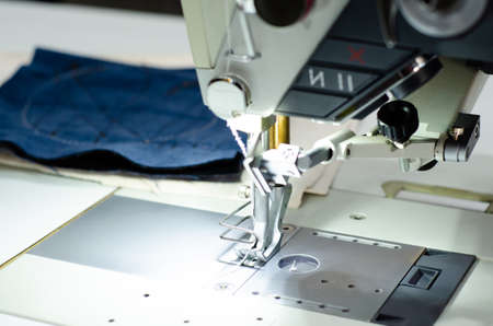 Close-up of Sewing Factory Machine Stockfoto