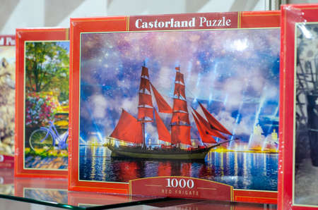 Kyiv, Ukraine - March 10, 2021: Castorland Puzzle for sale in the store