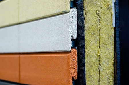 Close-up of external wall insulation systems Stockfoto