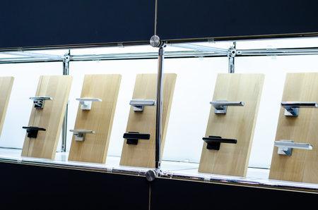 Door handles for sale in the store Stockfoto