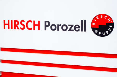 Kyiv, Ukraine - March 17, 2021: HIRSCH Porozell exhibition stand. HIRSCH Porozell supply tailored products for the construction, electrical, food, pharmaceutical, and packaging industries. Redactioneel