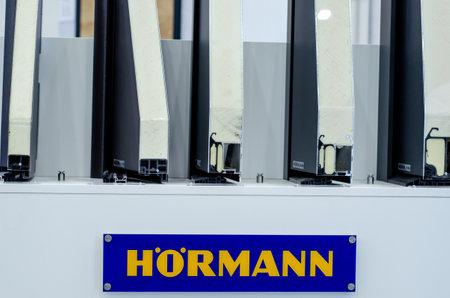 Kyiv, Ukraine - March 17, 2021: Hörmann exhibition stand. Redactioneel