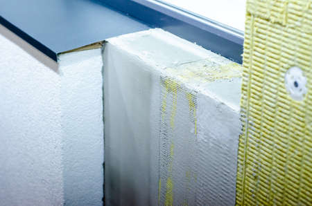 Close-op of external wall insulation systems Stockfoto