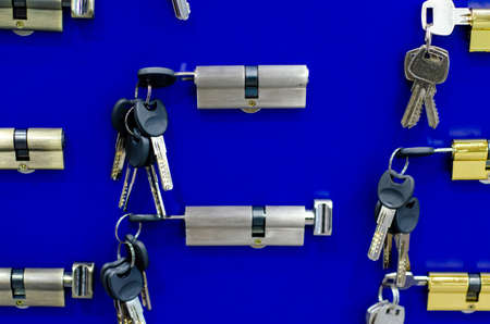 Door locks for sale in the store. Mortise Locks and Cylinder Locks. Stockfoto