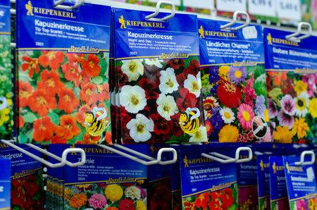 Soest, Germany - August 18, 2021: Kiepenkerl flower seeds for sale