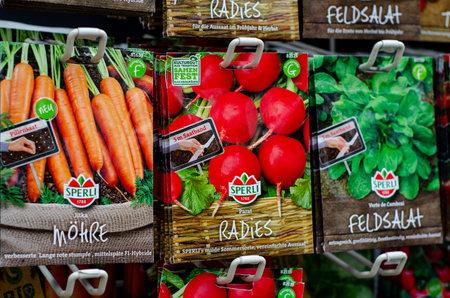 Soest, Germany - August 18, 2021: Sperli vegetable seeds for sale