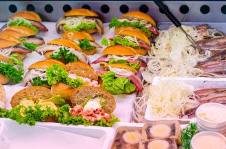 Street food, bun with fish