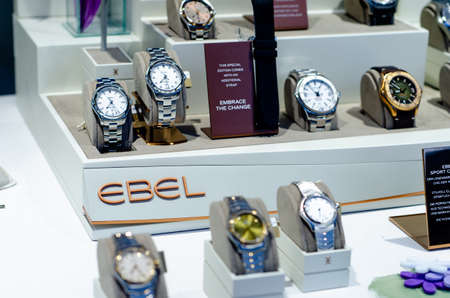 Bad Sassendorf, Germany - August 22, 2021: Ebel watches in the shop window.