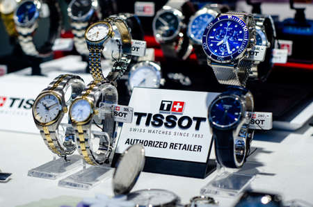 Bad Sassendorf, Germany - August 22, 2021: Tissot watches in the shop window.
