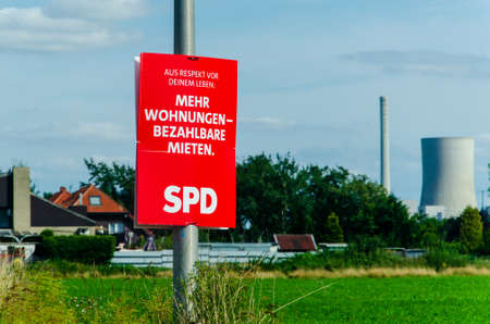 Uentrop, Germany - August 24, 2021: Election campaign poster of German political party SPD Social Democratic Party of Germany