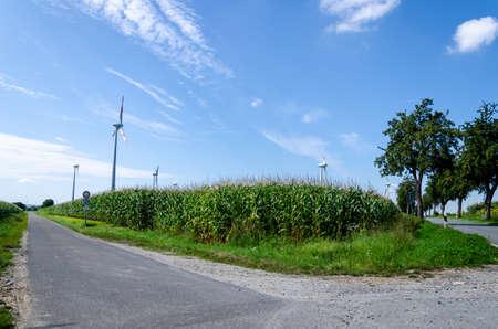 Wind turbines farms power generator in field. Stock fotó