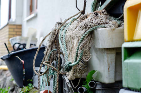 Fishing nets and accessories at the harbor.