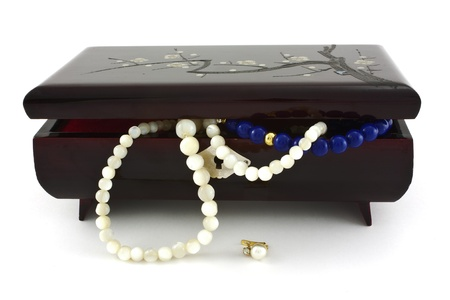 jewelry box with pearl necklaces falling over white background photo