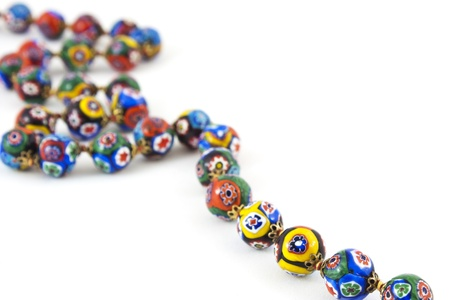 colorful beads: isolated of murano glass colourful necklace  Stock Photo