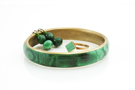 malachite: bracelet, earring and ring