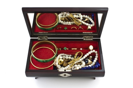 open jewelry box with jewels over white background photo