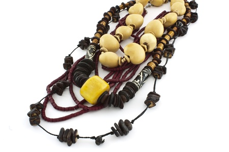 african handcraft necklaces of bead wood, coconut and seeds Stock Photo - 13181961