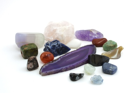 amethyst, pink quartz, sodalite and aquamarine stones photo