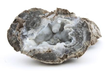 gemology: struttura cristallina di quarzo all'interno di un geode