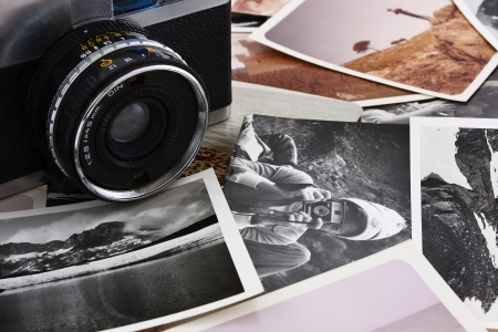 several stack of antique photos and old camera Stock Photo - 13301540