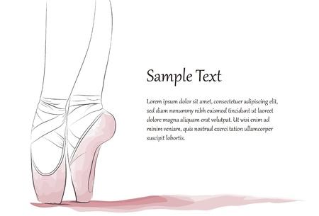 ballett: Closeup der F��e eines Ballett-T�nzerin in unvollendeten Strichen und Aquarell-Effekt