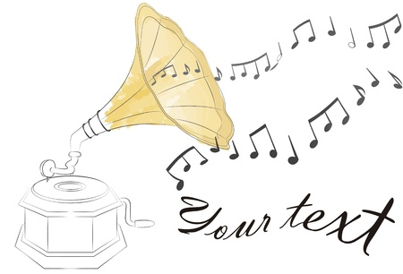 gramophone: outline of an antique gramophone, painted with watercolor effect. Music notes floating on the air and empty space to write your own text Illustration