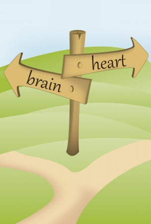 changing form: arrow sign with two ways, brain or heart