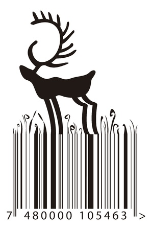bar code: barcode with the lines like a grass growing and a reindeer over them Illustration