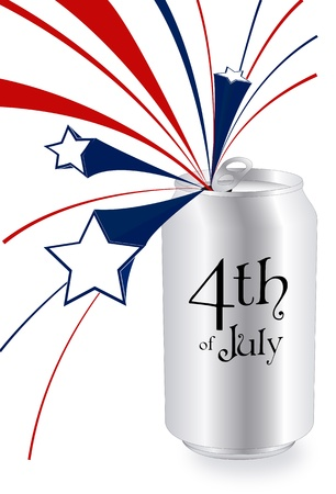 open can of 4th of July with bars and stars like fireworks Stock Vector - 13670749