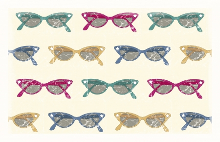 pattern background of 50's with retro sunglasses Stock Photo - 13727302