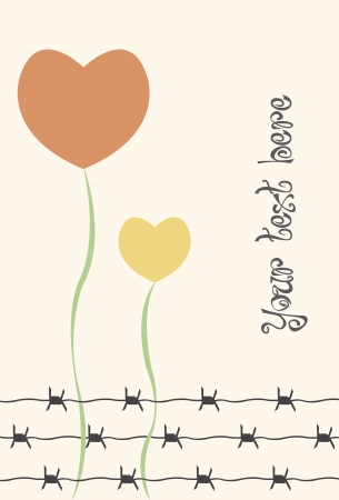 barbed wire: flowers of heart with barbed wire and a empty space to write your own text Illustration
