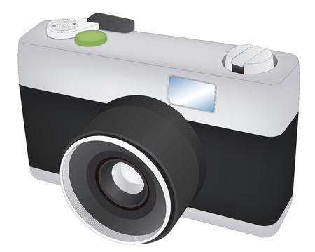 of a retro camera over white background
