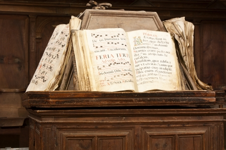 books of score of Gregorian song on a lectern