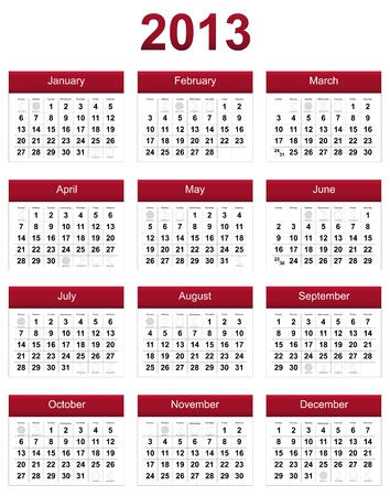 red 2013 calendar with phases of the moon Stock Photo - 14162708