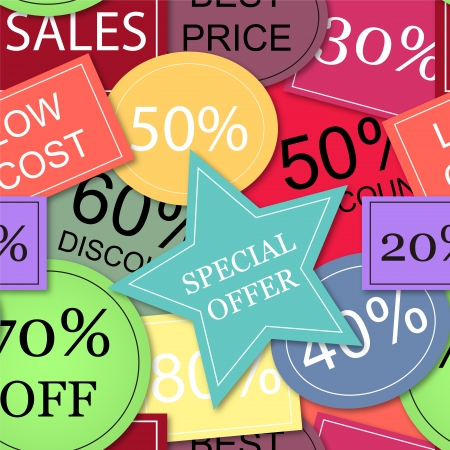 EPS10 file. Seamless vector with colorful tags of price discounts and offers Illustration