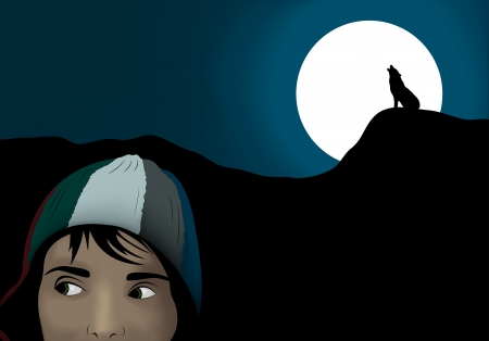 Halloween scene. Frightened girl in dark night with wolf silhouette howling at the moon Vector