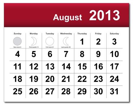 August 2013 calendar.  Vector