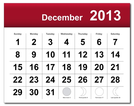 December 2013 calendar.  Vector