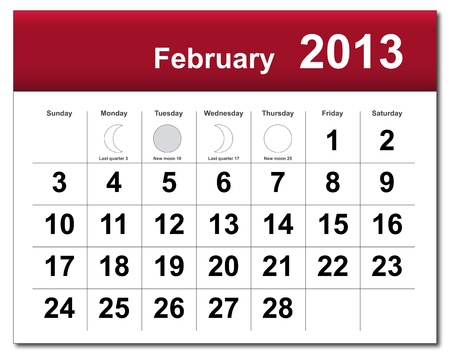 February 2013 calendar.  Vector