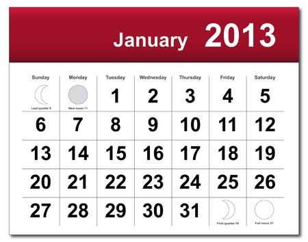 January 2013 calendar.  Vector