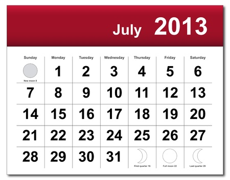 July 2013 calendar.  Stock Vector - 14856364