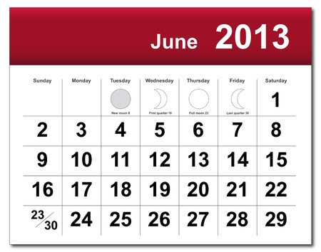 June 2013 calendar. Stock Vector - 14856362
